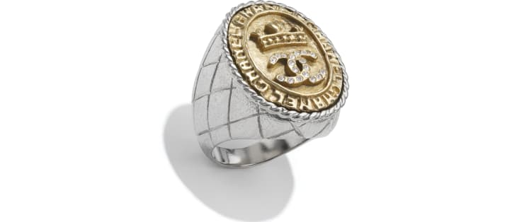 image 1 - Ring - Metal & Strass - Silver, Gold & Crystal