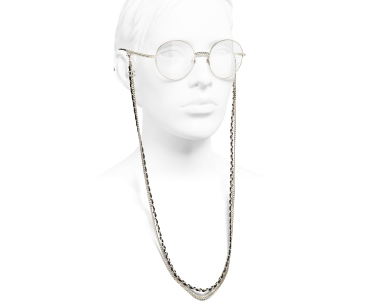image 7 - Round Eyeglasses - Metal & Calfskin - Gold