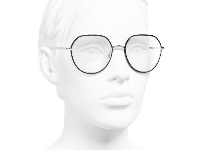 image 6 - Round Eyeglasses - Metal - Silver & Black