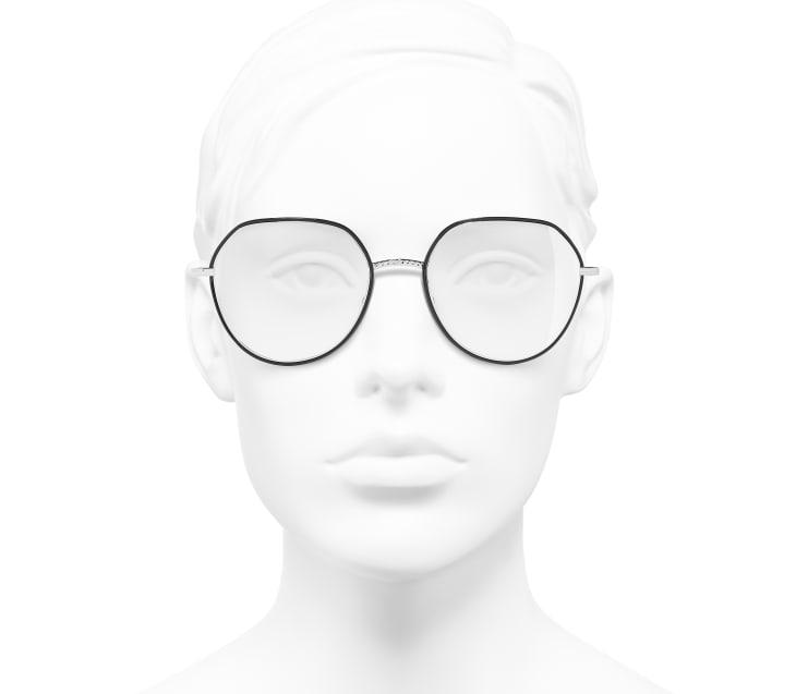 image 5 - Round Eyeglasses - Metal - Silver & Black