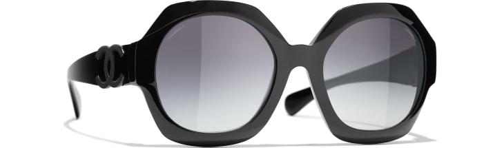 image 1 - Round Sunglasses - Acetate - Black