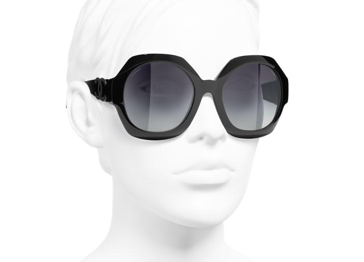 image 6 - Round Sunglasses - Acetate - Black