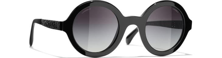 image 1 - Round Sunglasses - Acetate & Metal - Black