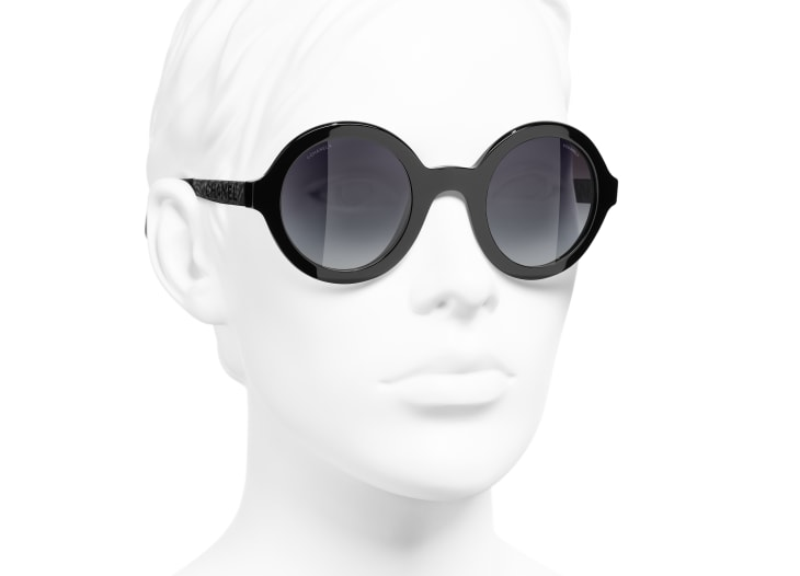 image 6 - Round Sunglasses - Acetate & Metal - Black