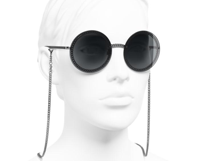 image 6 - Round Sunglasses - Metal - Dark Silver