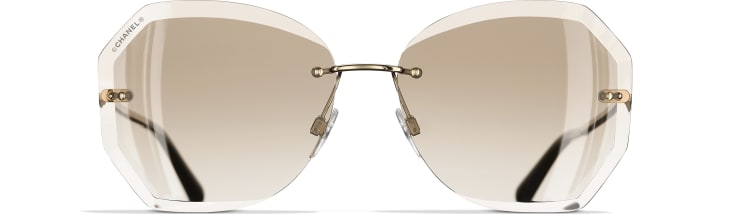 image 2 - Round Sunglasses - Metal - Gold & Beige
