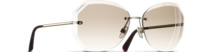 image 1 - Round Sunglasses - Metal - Gold & Beige