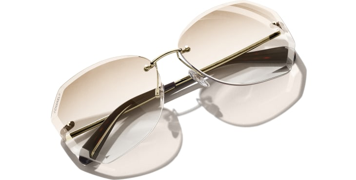 image 4 - Round Sunglasses - Metal - Gold & Beige