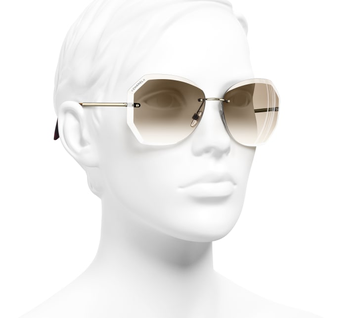 image 6 - Round Sunglasses - Metal - Gold & Beige