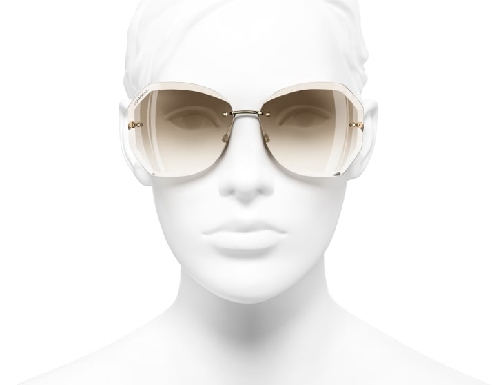 image 5 - Round Sunglasses - Metal - Gold & Beige