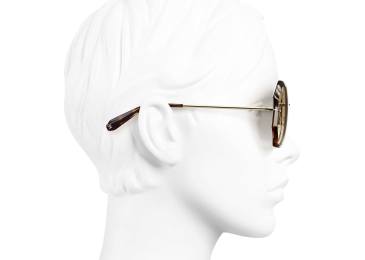 image 7 - Round Sunglasses - Metal - Gold & Beige