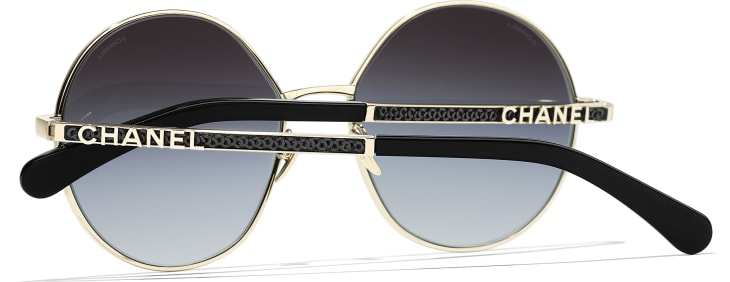 image 4 - Round Sunglasses - Metal & Sequins - Gold, grey