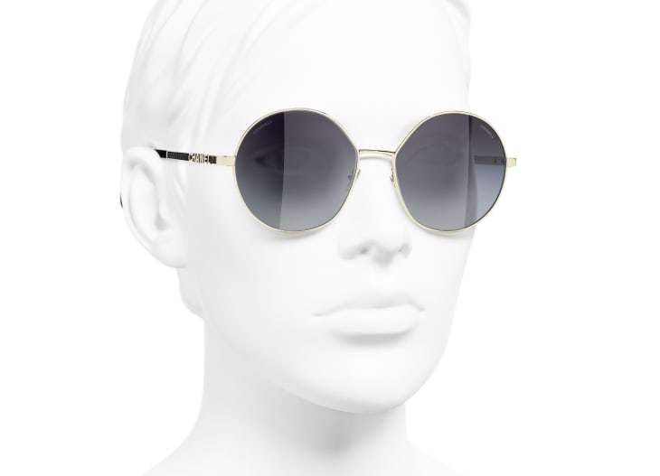 image 6 - Round Sunglasses - Metal & Sequins - Gold, grey