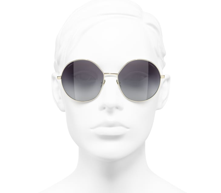 image 5 - Round Sunglasses - Metal & Sequins - Gold, grey