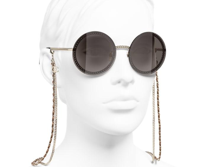 image 6 - Round Sunglasses - Metal & Calfskin - Gold