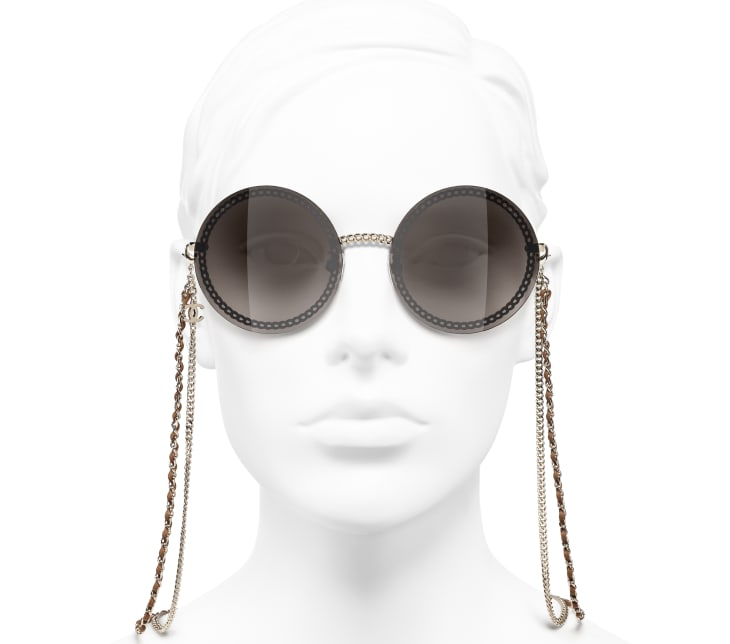 image 5 - Round Sunglasses - Metal & Calfskin - Gold