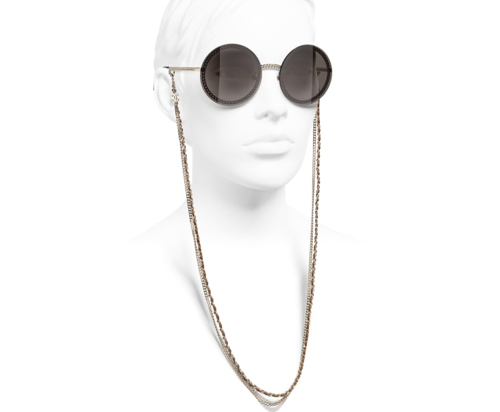 image 7 - Round Sunglasses - Metal & Calfskin - Gold