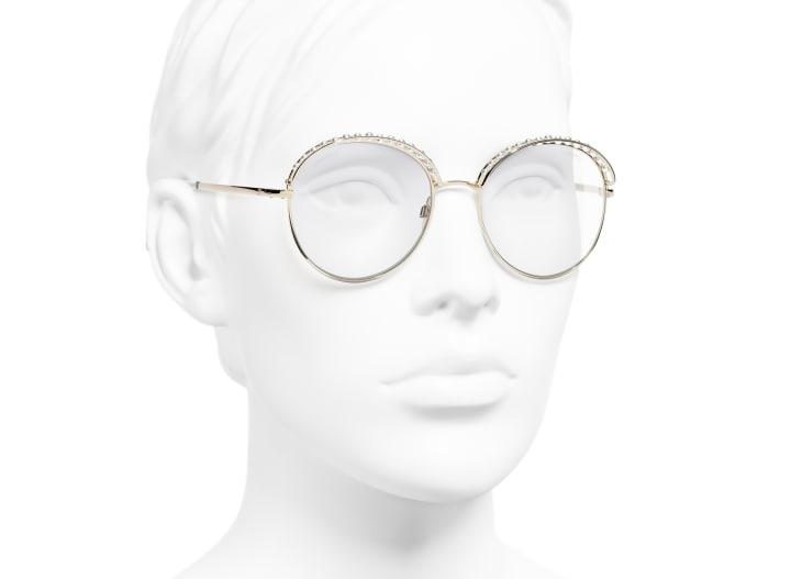 image 6 - Lunettes rondes - Métal & perles d'imitation - Doré