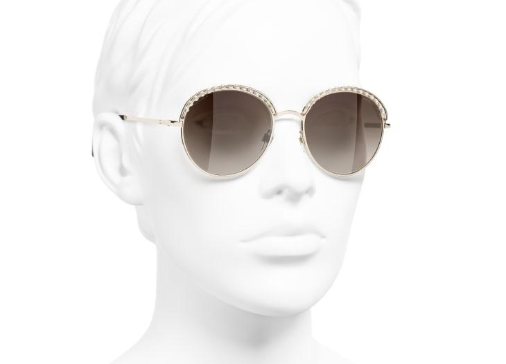 image 6 - Round Sunglasses - Metal & Imitation Pearls - Gold