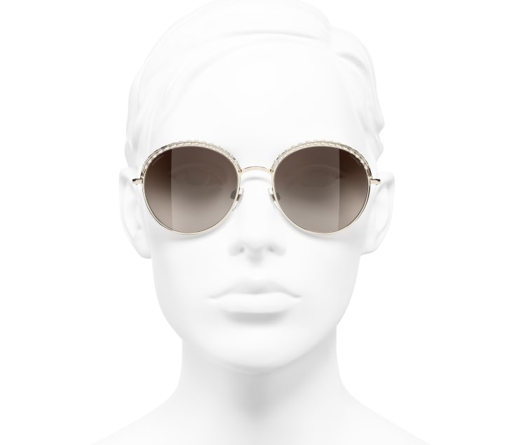 image 5 - Round Sunglasses - Metal & Imitation Pearls - Gold