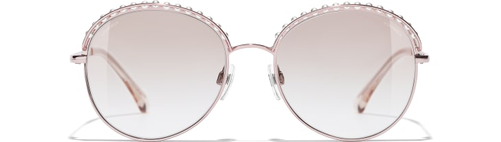 image 2 - Round Sunglasses - Metal & Imitation Pearls - Pink Gold