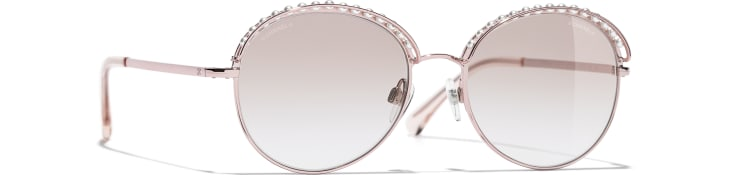 image 1 - Round Sunglasses - Metal & Imitation Pearls - Pink Gold