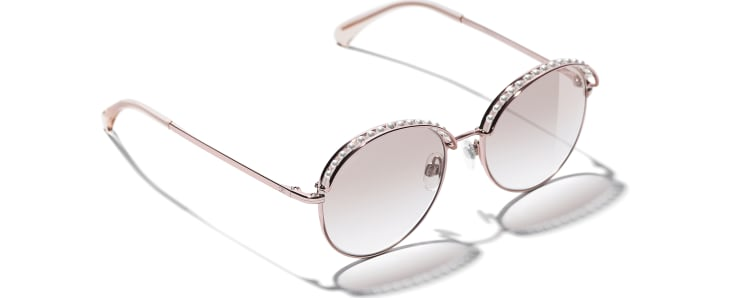 image 4 - Round Sunglasses - Metal & Imitation Pearls - Pink Gold