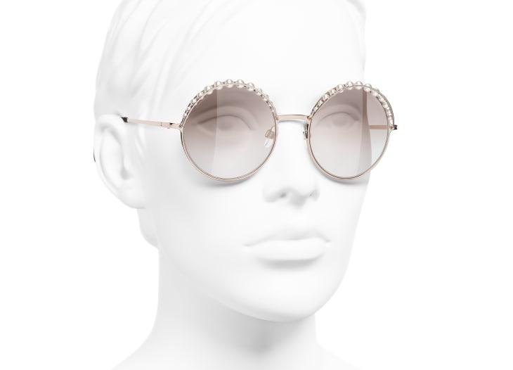 image 6 - Round Sunglasses - Metal & Imitation Pearls - Pink Gold
