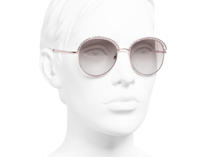 image 6 - Round Sunglasses - Metal & Imitation Pearls - Pink Gold