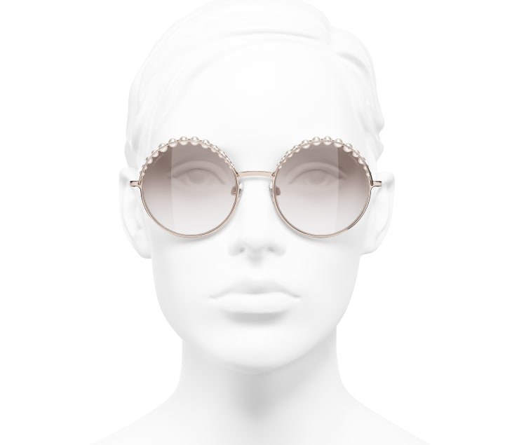 image 5 - Round Sunglasses - Metal & Imitation Pearls - Pink Gold