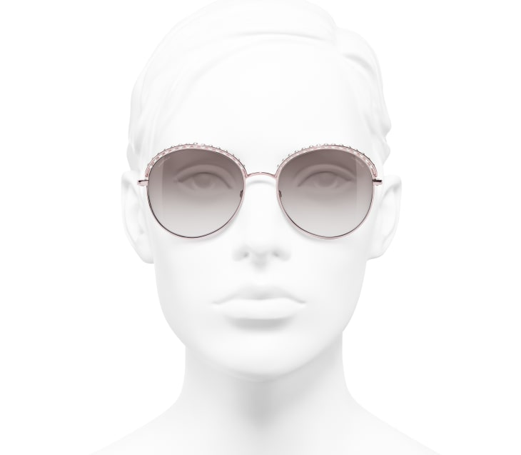 image 5 - Round Sunglasses - Metal & Imitation Pearls - Pink Gold