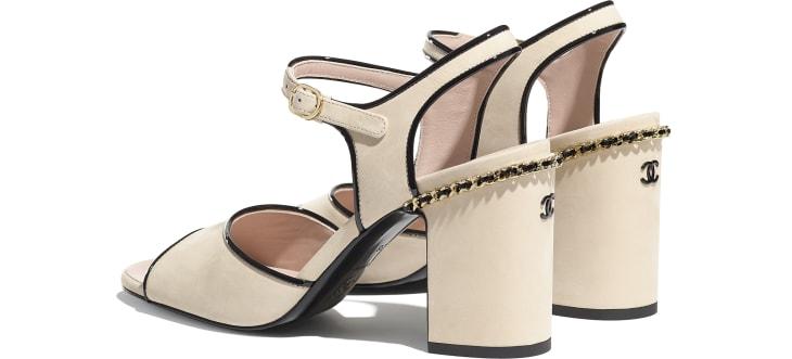 image 3 - Sandales - Veau mat velours - Beige & noir