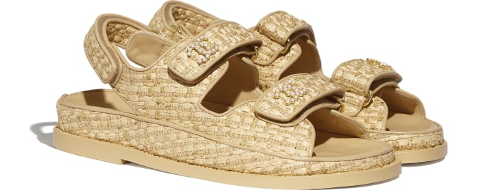 image 2 - Sandals - Braided Fabric - Beige