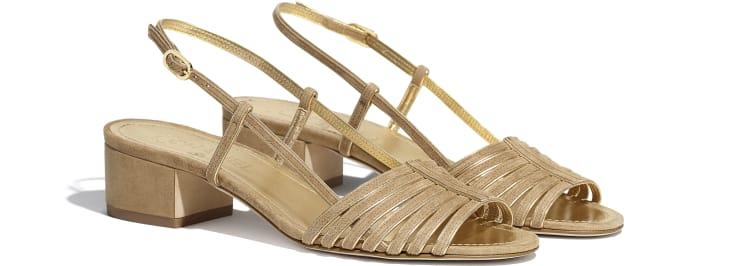 image 2 - Sandals - Suede Kidskin - Beige & Gold
