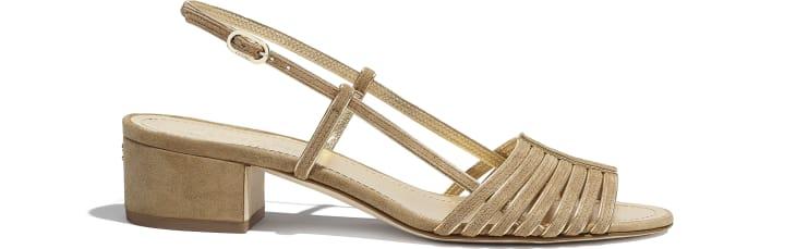 image 1 - Sandals - Suede Kidskin - Beige & Gold