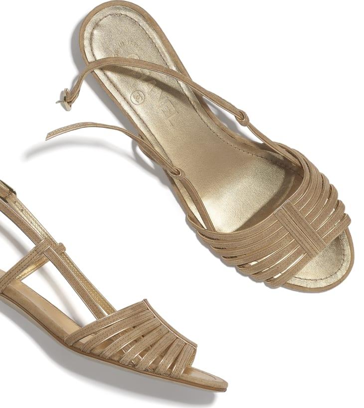 image 4 - Sandals - Suede Kidskin - Beige & Gold