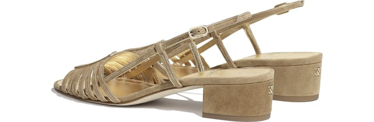 image 3 - Sandals - Suede Kidskin - Beige & Gold