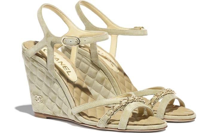 image 2 - Sandals - Suede Calfskin - Beige
