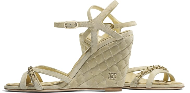 image 4 - Sandals - Suede Calfskin - Beige