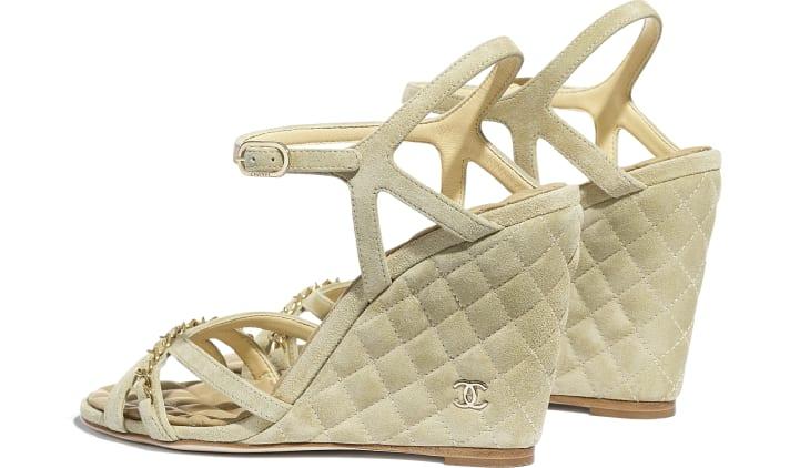 image 3 - Sandals - Suede Calfskin - Beige