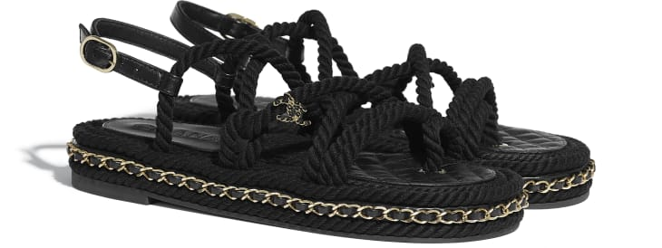 image 2 - Sandals - Cord - Black