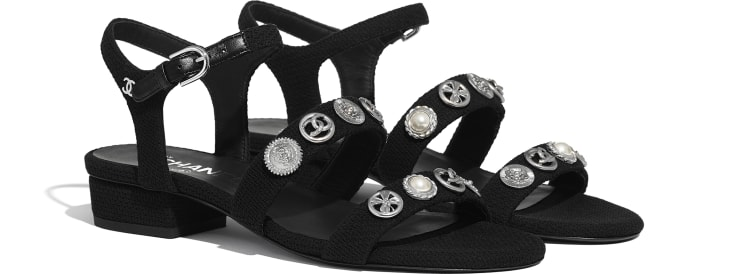image 2 - Sandals - Cotton Tweed & Jewelry - Black