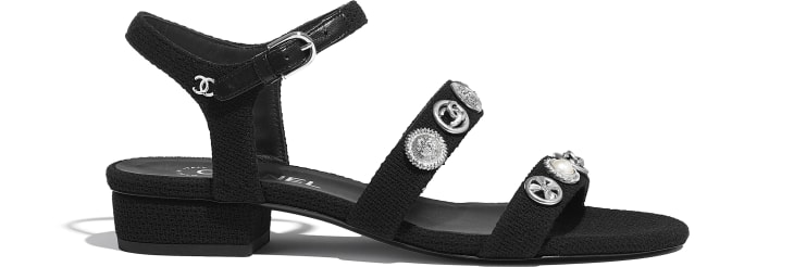 image 1 - Sandals - Cotton Tweed & Jewelry - Black
