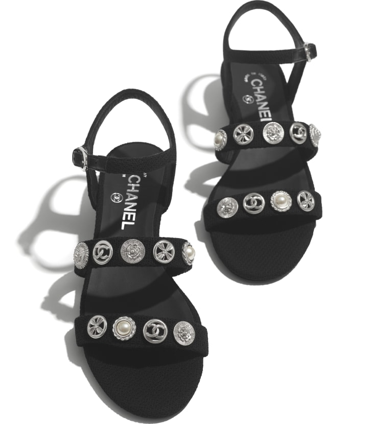 image 4 - Sandals - Cotton Tweed & Jewelry - Black