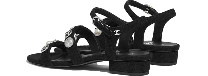 image 3 - Sandals - Cotton Tweed & Jewelry - Black
