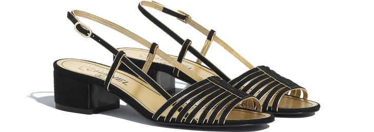 image 2 - Sandals - Suede Kidskin - Black & Gold