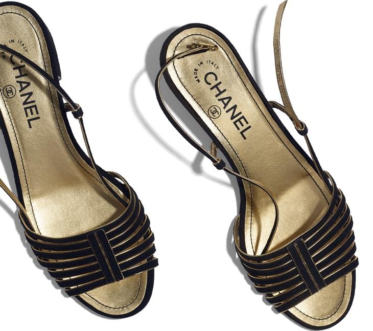image 4 - Sandals - Suede Kidskin - Black & Gold