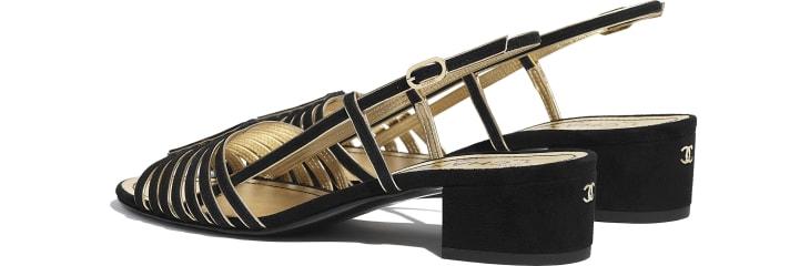 image 3 - Sandals - Suede Kidskin - Black & Gold