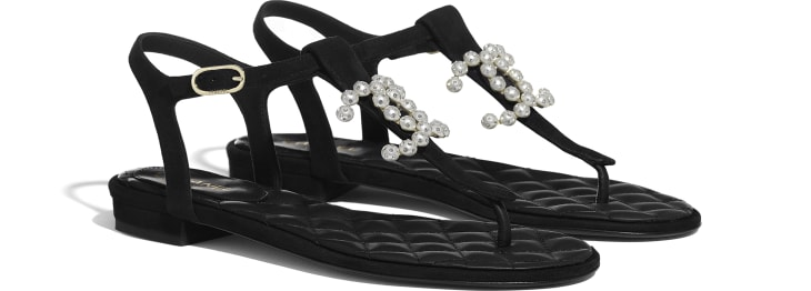 image 2 - Sandals - Kid Suede & Jewelry - Black