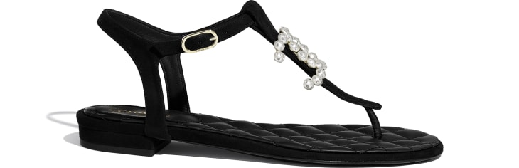 image 1 - Sandals - Kid Suede & Jewelry - Black